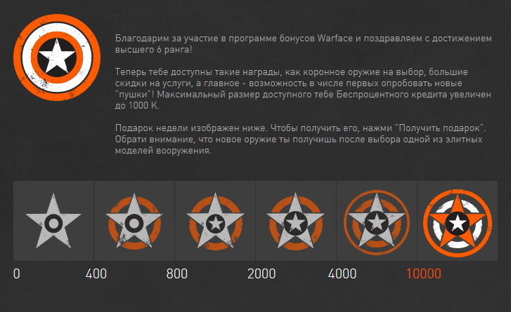 Программа бонусов WARFACE 40